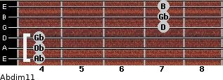 Abdim11 for guitar on frets 4, 4, 4, 7, 7, 7