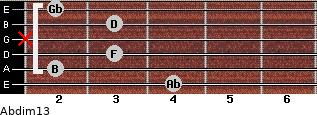 Abdim13 for guitar on frets 4, 2, 3, x, 3, 2