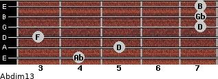 Abdim13 for guitar on frets 4, 5, 3, 7, 7, 7