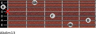Abdim13 for guitar on frets 4, 5, 3, x, 0, 2