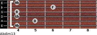 Abdim13 for guitar on frets 4, 5, 4, 4, 6, 4