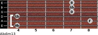 Abdim13 for guitar on frets 4, 8, 4, 7, 7, 7