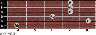 Abdim13 for guitar on frets 4, 8, 6, 7, 7, 7