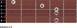 Abdim13 for guitar on frets 4, x, 4, 4, 3, 1