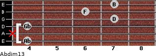 Abdim13 for guitar on frets 4, x, 4, 7, 6, 7