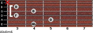 Abdim6 for guitar on frets 4, 5, 3, 4, 3, x