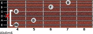 Abdim6 for guitar on frets 4, 5, x, 4, 6, 7