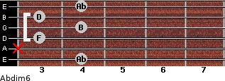 Abdim6 for guitar on frets 4, x, 3, 4, 3, 4