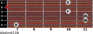 Abdim6/11/B for guitar on frets 7, 11, 11, 10, x, 10