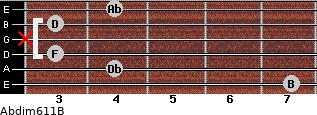 Abdim6/11/B for guitar on frets 7, 4, 3, x, 3, 4
