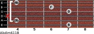 Abdim6/11/B for guitar on frets 7, 4, x, 7, 6, 4