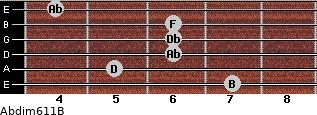 Abdim6/11/B for guitar on frets 7, 5, 6, 6, 6, 4