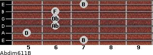 Abdim6/11/B for guitar on frets 7, 5, 6, 6, 6, 7