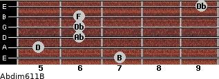 Abdim6/11/B for guitar on frets 7, 5, 6, 6, 6, 9