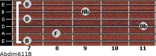 Abdim6/11/B for guitar on frets 7, 8, 11, 7, 9, 7