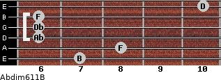 Abdim6/11/B for guitar on frets 7, 8, 6, 6, 6, 10