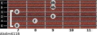 Abdim6/11/B for guitar on frets 7, 8, 9, 7, 9, 9