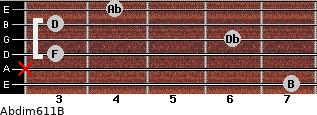 Abdim6/11/B for guitar on frets 7, x, 3, 6, 3, 4