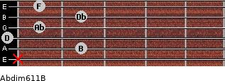 Abdim6/11/B for guitar on frets x, 2, 0, 1, 2, 1
