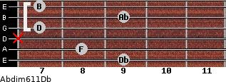 Abdim6/11/Db for guitar on frets 9, 8, x, 7, 9, 7