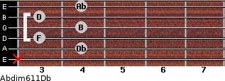 Abdim6/11/Db for guitar on frets x, 4, 3, 4, 3, 4