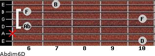 Abdim6/D for guitar on frets 10, x, 6, 10, 6, 7