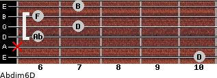 Abdim6/D for guitar on frets 10, x, 6, 7, 6, 7