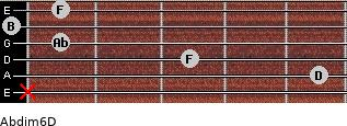 Abdim6/D for guitar on frets x, 5, 3, 1, 0, 1