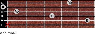 Abdim6/D for guitar on frets x, 5, 3, 1, 0, 4