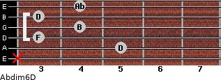 Abdim6/D for guitar on frets x, 5, 3, 4, 3, 4