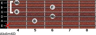 Abdim6/D for guitar on frets x, 5, 6, 4, 6, 4