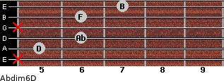 Abdim6/D for guitar on frets x, 5, 6, x, 6, 7