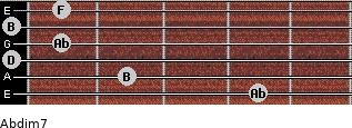 Abdim7 for guitar on frets 4, 2, 0, 1, 0, 1