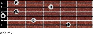 Abdim7 for guitar on frets 4, 2, 0, 1, 3, 1