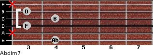 Abdim7 for guitar on frets 4, x, 3, 4, 3, x