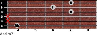 Abdim7 for guitar on frets 4, x, x, 7, 6, 7