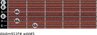 Abdim9/11/F# add(#5) guitar chord