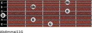 Abdim(maj11)/G for guitar on frets 3, 2, 0, 4, 2, 4