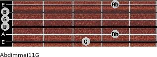 Abdim(maj11)/G for guitar on frets 3, 4, 0, 0, 0, 4