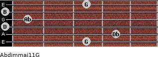 Abdim(maj11)/G for guitar on frets 3, 4, 0, 1, 0, 3
