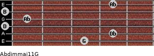 Abdim(maj11)/G for guitar on frets 3, 4, 0, 1, 0, 4