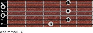 Abdim(maj11)/G for guitar on frets 3, 4, 0, 4, 0, 4