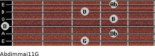 Abdim(maj11)/G for guitar on frets 3, 4, 0, 4, 3, 4