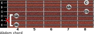 Abdom for guitar on frets 4, x, 4, 8, 7, 8