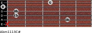 Abm11\13\C# for guitar on frets x, 4, 1, 1, 0, 3