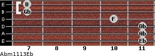 Abm11/13/Eb for guitar on frets 11, 11, 11, 10, 7, 7