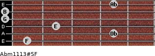 Abm11\13#5\F for guitar on frets 1, 4, 2, 0, 0, 4