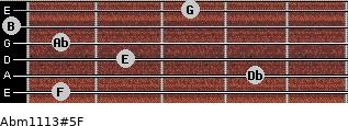 Abm11\13#5\F for guitar on frets 1, 4, 2, 1, 0, 3