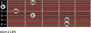 Abm11#5 for guitar on frets 4, 4, 2, 1, 0, 2