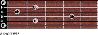 Abm11#5/E for guitar on frets 0, 2, 4, 1, 2, 0